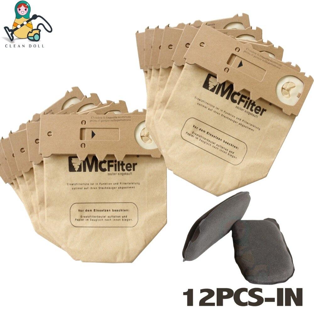 CLEAN DOLL 12X Vacuum cleaner dust bag paper bags Carbon Charcoal for VORWERK KOBOLD VK130 VK131 FP130 FP131 Vacuum Dust Bags 18 pcs dust paper bags and vacuum cleaner filter change bags with high quality of vacuum cleaner parts for vk130 vk131 etc