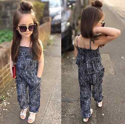 fd7e24aca536 Summer Kids Baby Girls Retro Backless Overalls Romper Jumpsuit Playsuit  Outfits
