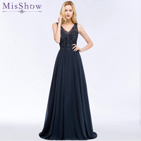 Sexy Double V neck Evening Dress Long Robe De Soiree 2019 High Quality Navy Blue With Applique Evening Dresses Prom Formal Gown
