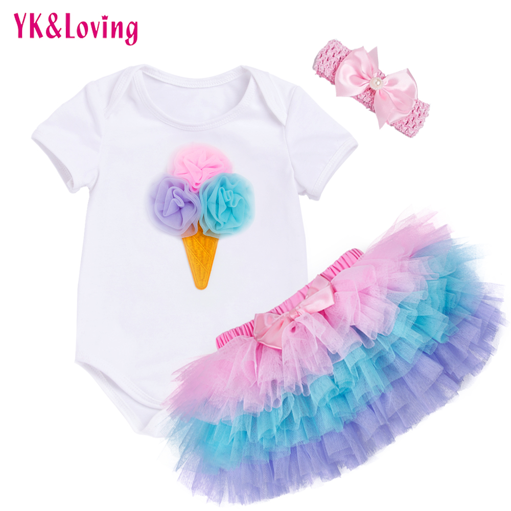 Tutu Baby Birthday Set Summer Short Sleeve Romper Pettiskirt Girls 3 Pcs Clothing Sets 2017 New Arrival new baby girl clothing sets lace tutu romper dress jumpersuit headband 2pcs set bebes infant 1st birthday superman costumes 0 2t
