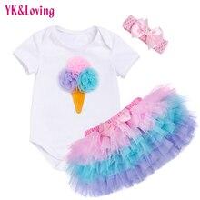 Купить с кэшбэком 2016 new arrival Girls Clothing sets Ocean Star bodysuits + pink tutu skirt + headband 3pcs/set baby Carters Balance 574 Clothes