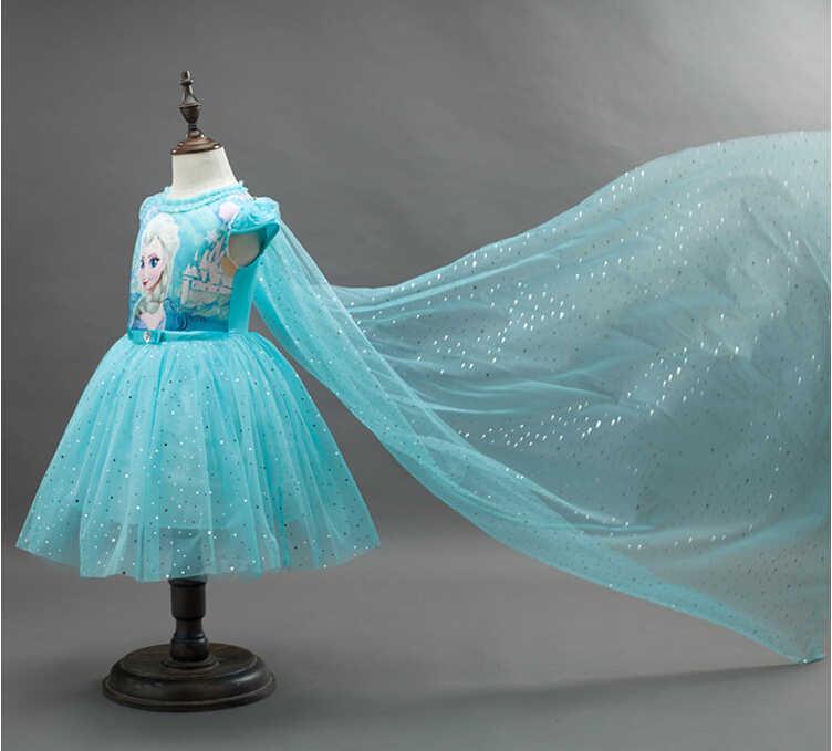 Розничная продажа, 1 предмет платье-пачка для девочек + накидка, 2 предмета, детские платья принцессы с блестками и Эльзой и Анной вечерние платья для маленьких девочек, новинка 2019 года, детская одежда синего цвета