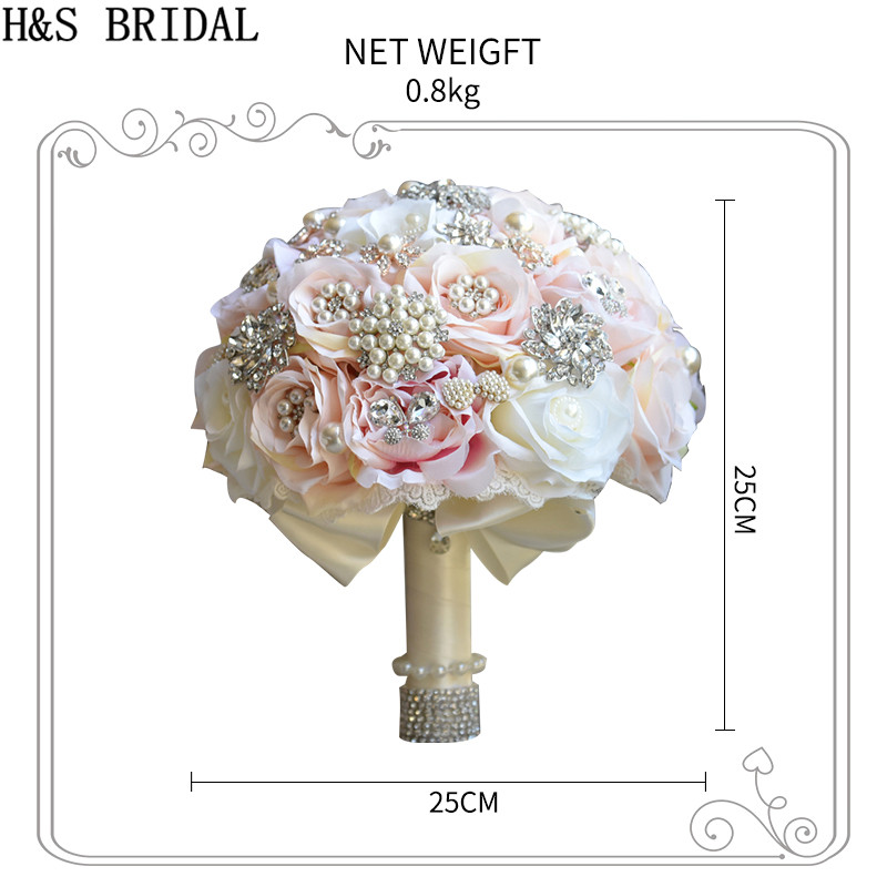 Image 5 - H&S BRIDAL Round Blush Wedding Bouquet Teardrop Butterfly Brooch Bouquet Alternative Cascading Bouquets Crystal Wedding Flowers-in Wedding Bouquets from Weddings & Events