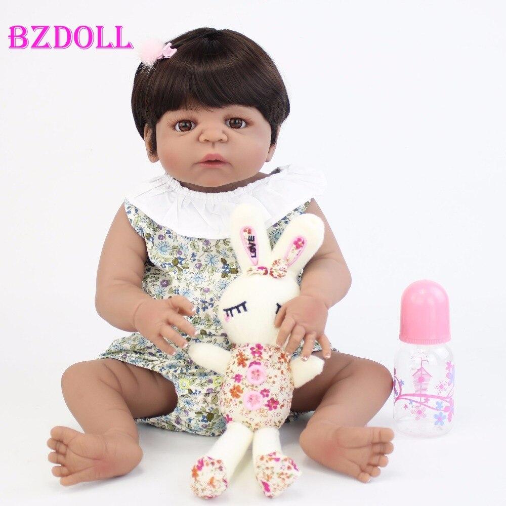 55 cm Silicone corps Reborn bébé poupée jouet comme réel peau noire nouveau né bébés vivants Bebe poupée bain jouet filles Bonecas-in Poupées from Jeux et loisirs    1