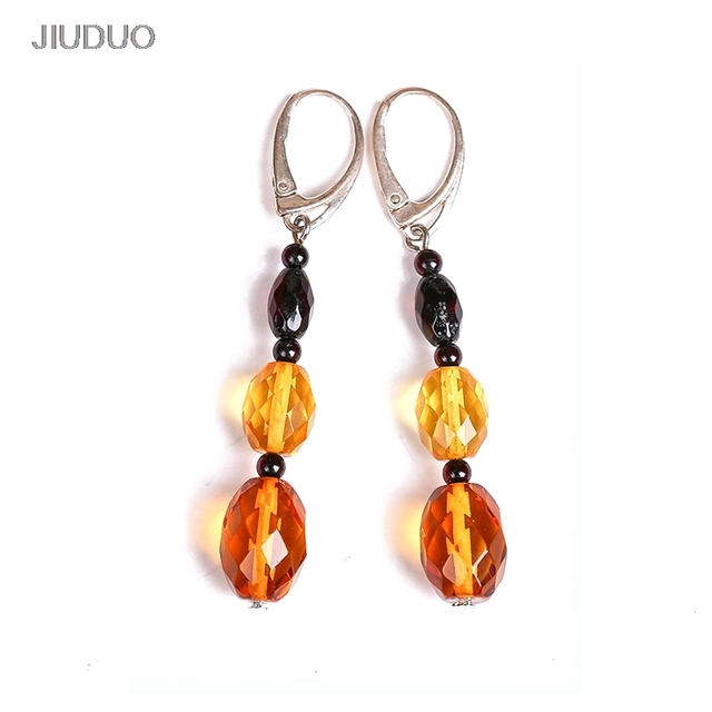 Natural amber beeswax  earrings Fashion 925 sterling silver earrings for women Natural Amber silver 925 jewelry for pendants