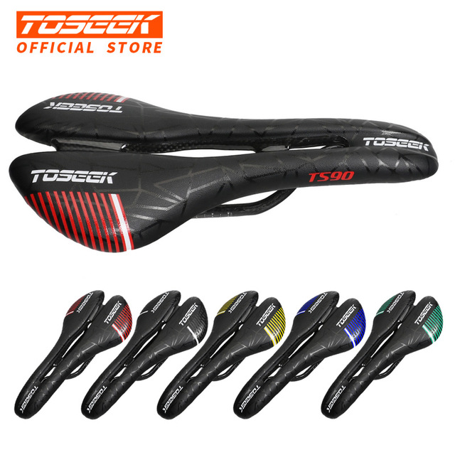 TOSEEK TS90 Bicycle Carbon Fiber Saddle Road Bike Lightweight Seat Cushion Bicycle Cycling Parts Bike Hollow Leather Saddle rxl sl bicycle saddle full carbon fiber road mtb bike saddle cycling bike seat saddle cushion bike parts about 105g