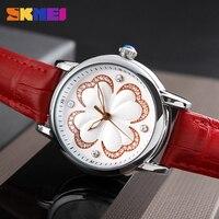 SKMEI Women Fashion Watches Luxury Brand Leather Strap Quartz Watch Ladies Waterproof Casual Dress Wristwatches Relogio