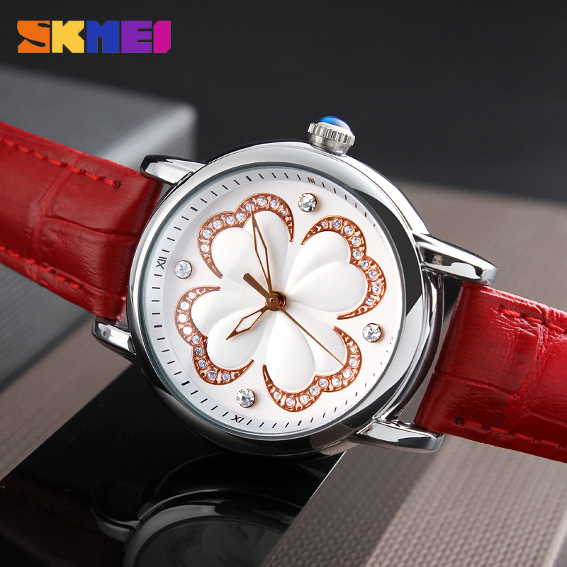SKMEI Women Fashion Watches Luxury Brand Leather Strap Quartz Watch Ladies Waterproof Casual Dress Wristwatches Relogio Feminino free shipping kezzi women s ladies watch k840 quartz analog ceramic dress wristwatches gifts bracelet casual waterproof relogio