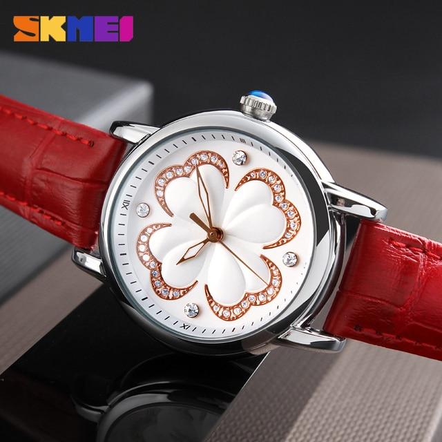 SKMEI Для женщин Мода Часы Элитный бренд кожаный ремешок кварцевые часы дамы Водонепроницаемый Повседневные платья Наручные Часы Relogio feminino