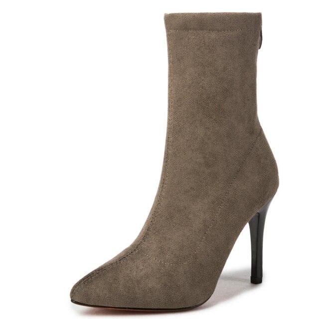 2018 New Fashionable Women Mid Calf Boots Autumn Elegant Shoes Woman