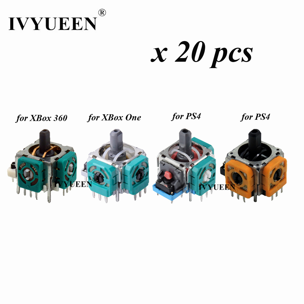 IVYUEEN 20 Pcs 3D Analog Thumb Sticks Sensor Module Potentiometer For PlayStation 4 PS4 Pro Slim Controller For XBox One 360