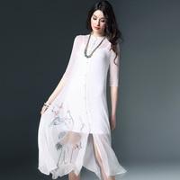 Шелк Цветочный плюс размеры летнее платье 2019 для женщин пикантные Клубные Ретро пляжные Длинные платья fem me свободные белый печатных кран