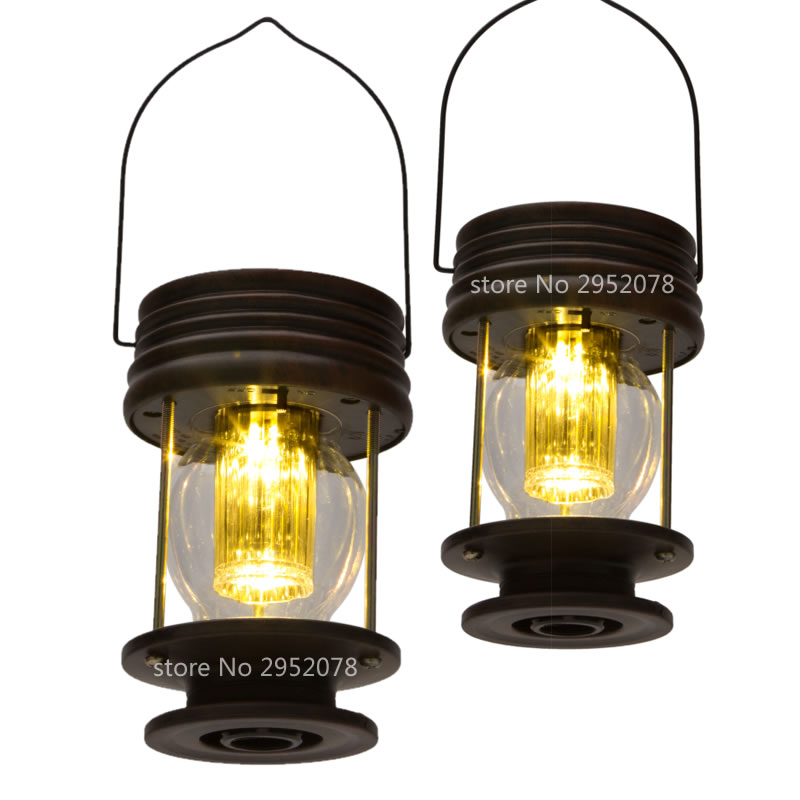 2PCS Retro solar lantern led Outdoor solar lights lamp camping lantern  ABS Emergency Lighting home house outdoor candle lantern ni mh solar powered landscape umbrella lantern hang lamp led bulbs light hm184