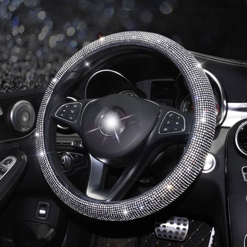 Car-Steering-Wheel-Covers Car-Interior-Accessories Crystal Bling Girls Women Auto  title=