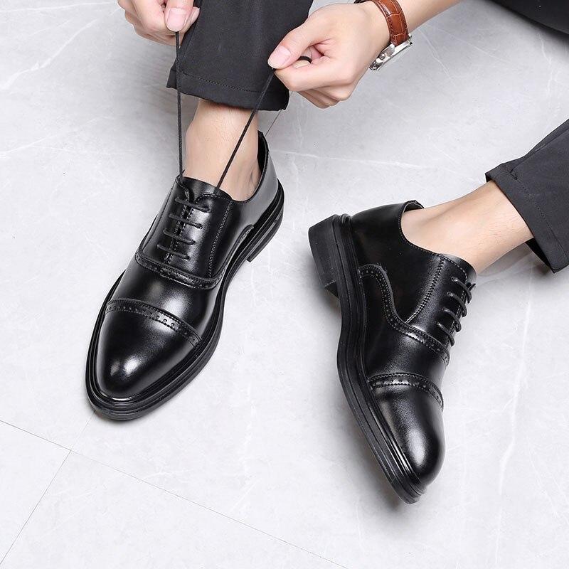 DXKZMCM 2018 en cuir véritable hommes richelieu chaussures à lacets Bullock affaires robe hommes Oxfords chaussures hommes chaussures formelles - 5