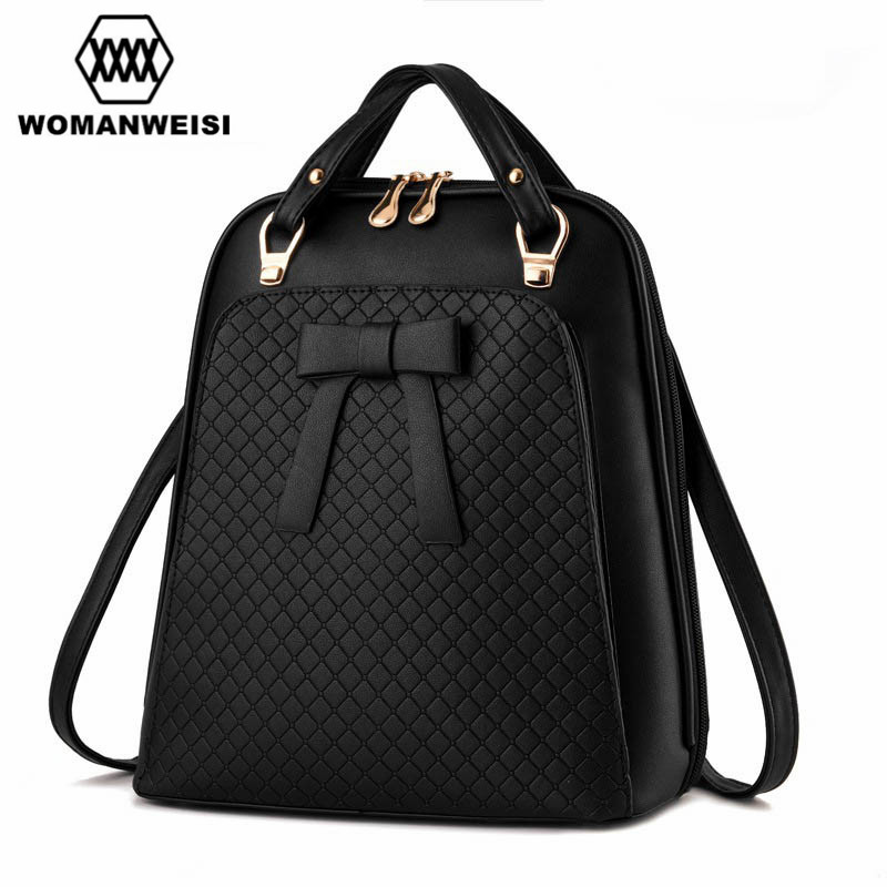 Fashion Women Leather Backpack Bow Decoration Should Bags High Quality Brand Backpack For Teens Schoolbag Backbag Mochila 2017