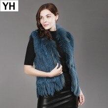 Vest Waistcoat Gilet Fur-Collar Raccoon Spring Knitted Real-Rabbit-Fur Natural Hot-Sale