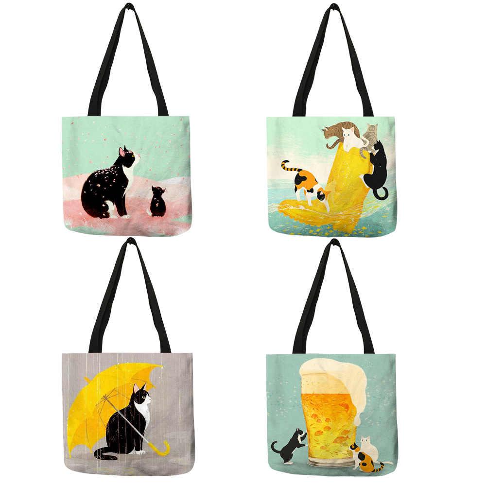 Сумка-тоут для женщин, многоразовая, складная, с рисунком кота