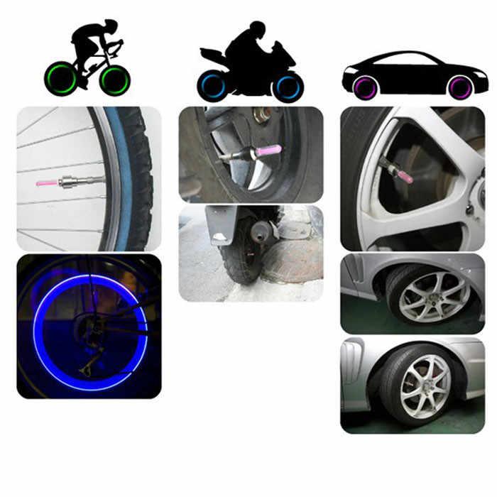 Sepeda Sepeda Mobil 2 Buah Roda Ban Katup Ban Cap Lampu LED Neon Biru Cahaya Flash Lampu Outdoor Alat