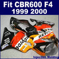Custom Motorcycle Injection fairing kits for HONDA 1999 2000 CBR600F4 CBR600 F4 CBR 99 00 600 F4 orange repsol body fairngs kit