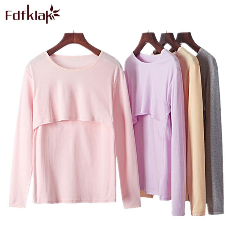 Fdfklak M-XXL Plus Size Breastfeeding Clothes Spring Womens Pyjamas Maternity Homewear Maternity Sleepwear For Nursing Q191