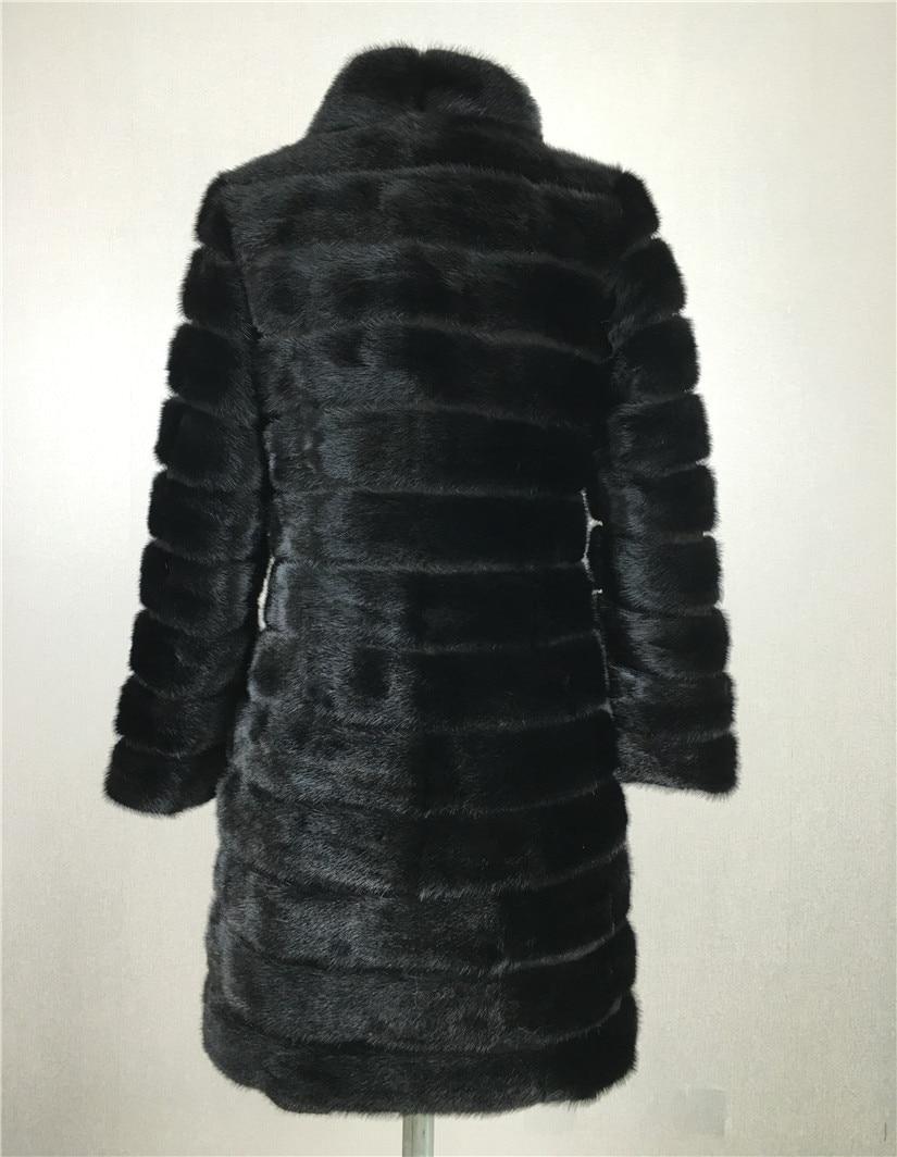 LIYAFUR Real Nerz Pelzmantel für Frauen Natürliche Echte Russische - Damenbekleidung - Foto 4