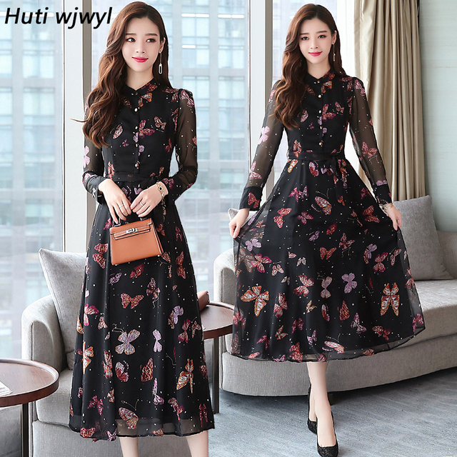 c6605aa37 Outono Inverno New Vintage Floral Chiffon Vestido Midi XL Plus Size Vestidos  Boho 2018 Mulheres Elegantes