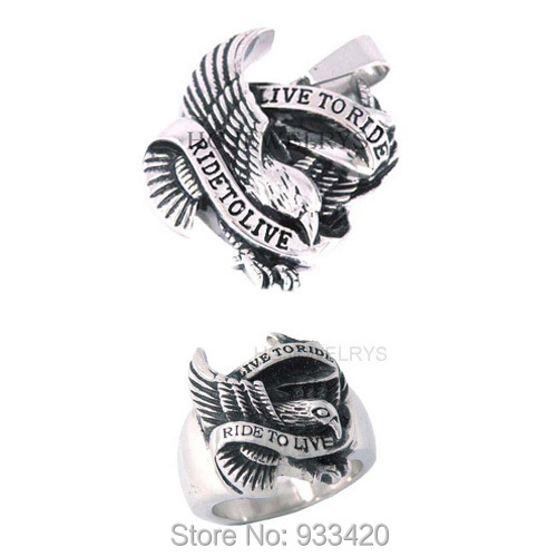 Free shipping! Live To Ride Eagle Ring and Pendant Stainless Steel Jewelry Ride to Live Motor Biker Eagle Jewelry Set SWR0005RP