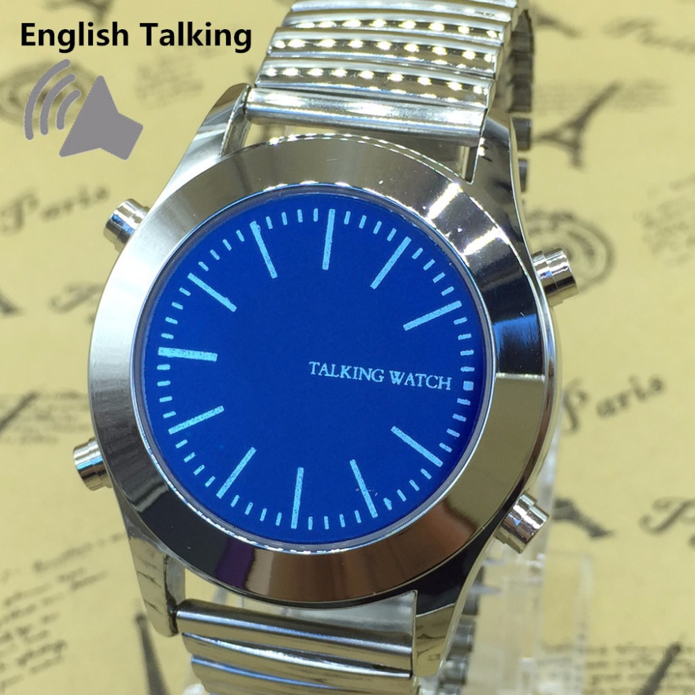 English Talking Watch Unisex Quartz with Blue Dial and Silver Stainless Steel BraceletEnglish Talking Watch Unisex Quartz with Blue Dial and Silver Stainless Steel Bracelet