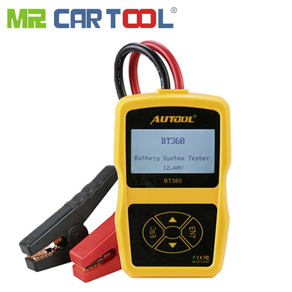 AUTOOL BT360 12 V coche Digital probador de batería para inundado AGM GEL BT-360 de 12 voltios de batería automotriz Analizador de CCA Multi -idioma