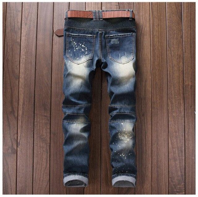 2017 European American Style Hommes de jeans slim denim pantalon Droite célèbre marque mens bleu gentleman zipper trou jeans pantalon