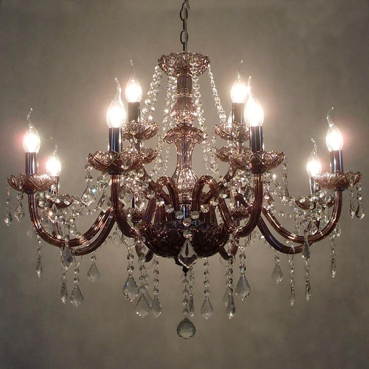 12 Lampen European Candle Kristall Kronleuchter Lampe Und Kristall Pandents  Indien Gaze Lampenschirm Schlafzimmer Wohnzimmer Moderne E14 In 12 Lampen  ...
