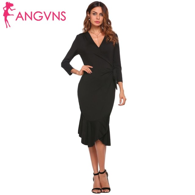 8122f4599f ANGVNS Women 3 4 Sleeve Solid V Neck Ruffled Pleated Loose Semi Formal Midi  Wrap Dress summer spring 2018 Robe de femme Vestido