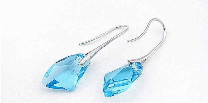 Envío Gratis, venta al por mayor, un par de pendientes de gancho de plata 925 de piedra de cristal de Austria coloridos, bonitos 6 colores