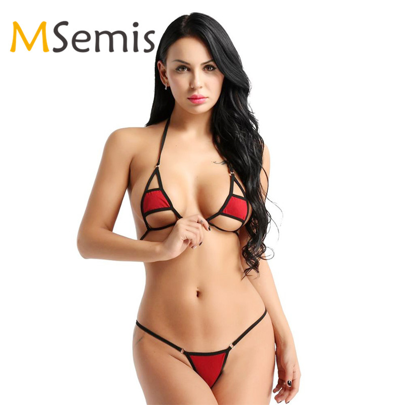 Women's Micro Mini Bikini Swimsuit Lingerie Halter Neck Bikini Set Bra Top With G-string Underwear Hot Sexy Monokini Swimwear