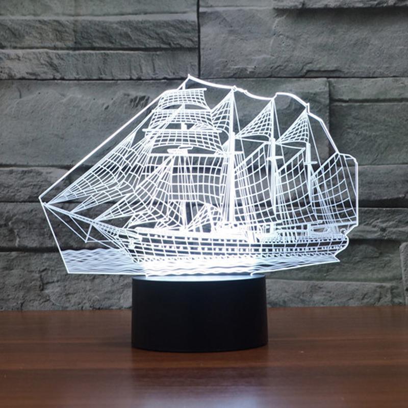 Newest Bedroom Night Desk Light Lamp Versatile 7color illusion Sailboat 3D LED (7)
