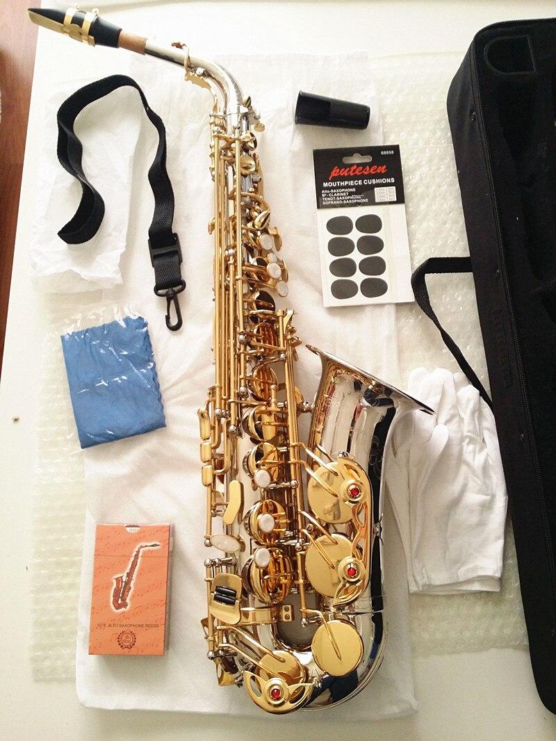 Tout nouveau A-WO37 YANAGISAWA Saxophone Alto nickelé clé en or professionnel YANAGISAWA Super jeu embout Sax avec étui