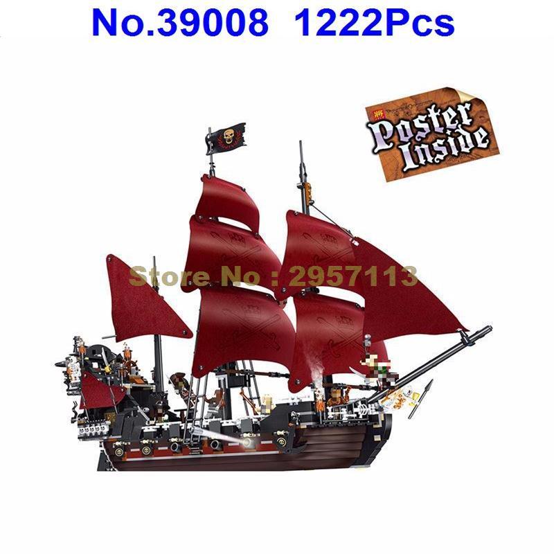 WAZ 39008 1222pcs Queen Anne\'s Revenge Pirates Of Caribbean Lele Building Block Compatible 4195 Lepin 16009 Brick Toy lepin 22001 imperial warships 16009 queen anne s revenge model building blocks for children pirates toys clone 10210 4195