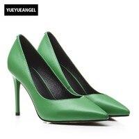 Women Office Work Sexy Super High Thin Heel Shoes 2018 New Green Black Genuine Leather Wedding