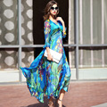 2017 Spring And Summer New Fashion High-end Printed Dress Bohemia Holiday Beach Long Dress Plus Size Ukraine Women Dress