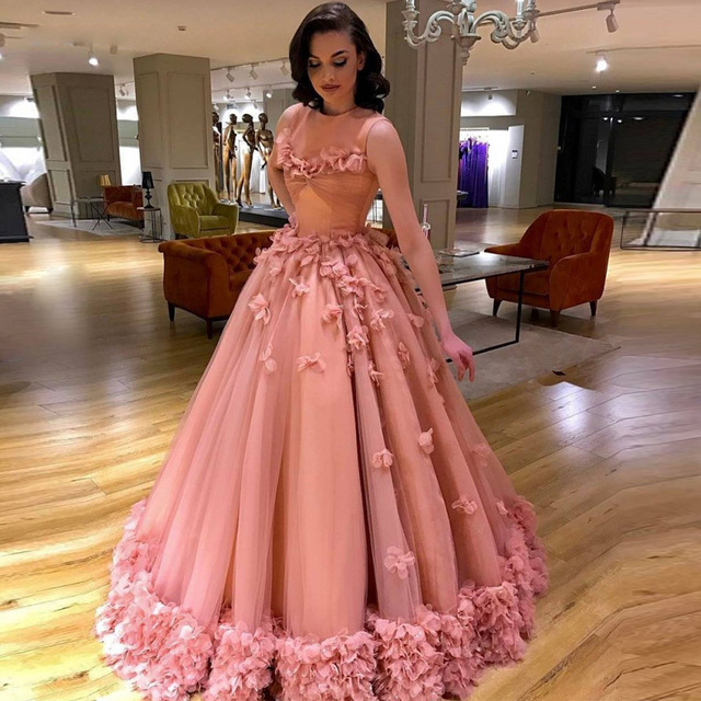 Designer Ball Gown Princess Formal Evening Dresses O Neck Tank ...