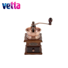 VETTA Coffee grinder metal with wooden base 10X10X17,5sm,flasks,dish,frying pan,coffee,tea,bakingdish,home,discount, 827-001(China)