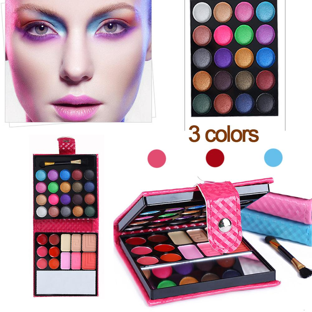 32 Color Portable Wallet Type Eyeshadow Tray Leather Eye Shadow Pearl Combination Eye Shadow Stick Lip Brush Makeup Mirror Blush Beauty Essentials