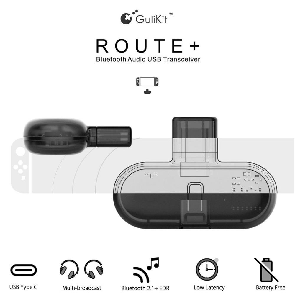 Gulikit ruta + PRO CSR Bluetooth 2,1 + EDR tipo C USB Adaptador de Audio transmisor transceptor para Nintendo interruptor-in Accesorios y piezas de reemplazo from Productos electrónicos    1