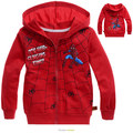 Retail New 2015 Children Outerwear Cartoon Red Print Spiderman Boy Pure Cotton Hooded Coats and Jackets for Children 2-10 years