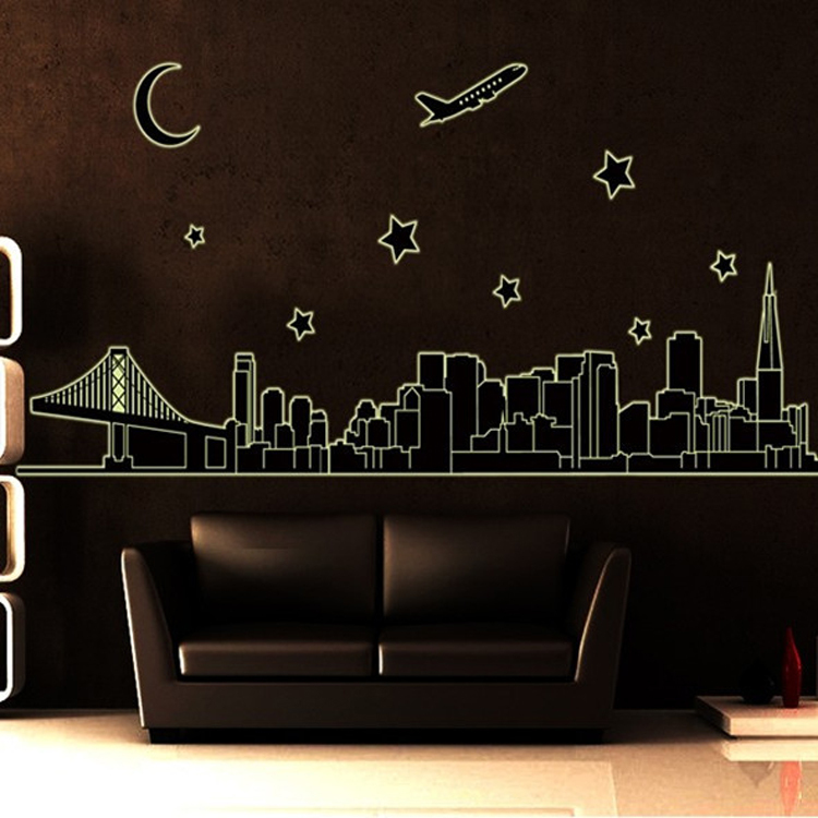 Creative DIY Luminous Fluorescent Wall Stickers City Night View Glow In The  Dark Vinyl Decals For Bedroom From Reliable Sticker City Suppliers On 24  Hours ... Part 7