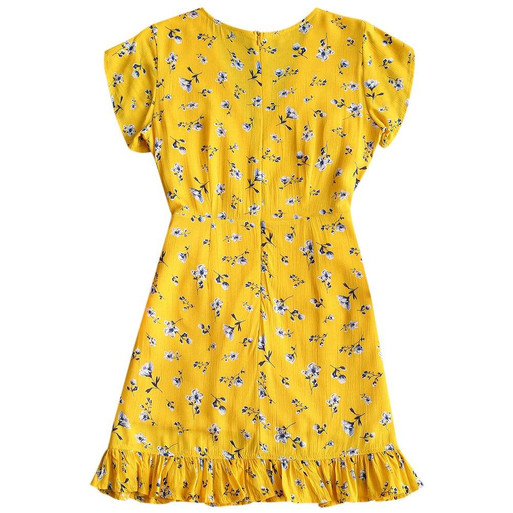 Wipalo Women Low Cut Mini Dress Deep V Neck Short Sleeves Ruffle ... 2e38a2d09