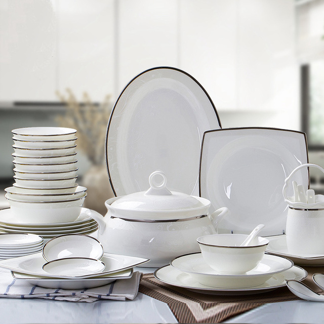 European Style Living Home Decor Daily Use Dinnerware Sets / 57pcs Porcelain Dinner Set : home dinnerware set - pezcame.com
