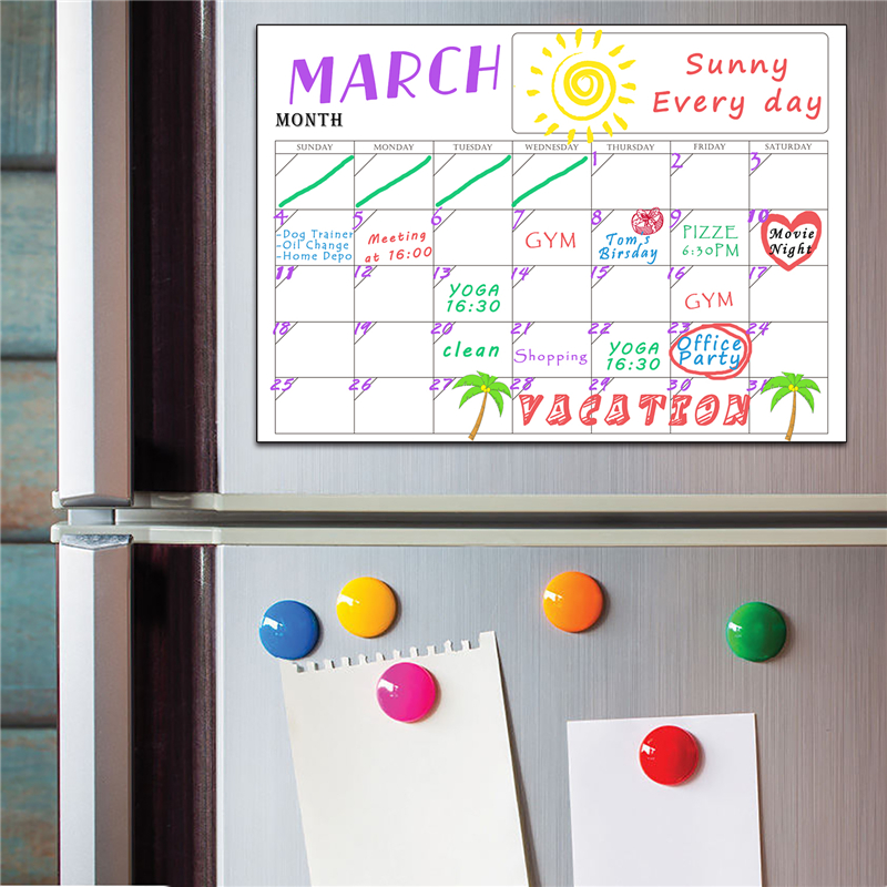 Magnetic Month Week Dry Erase Planner Calendar Board PVC Refrigerator Wall Sticker Complete Set (2PCS/SET) 42x30cm