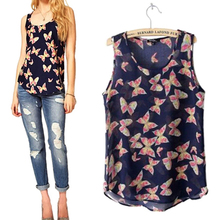 Hot Women s Butterfly Print Summer Chiffon Blouse Sleeveless Shirt Fresh Vest TopTank Retail Wholesale 5AWL